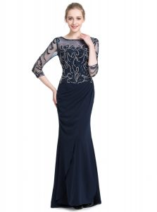 Decent Navy Blue Column/Sheath Chiffon Bateau 3 4 Length Sleeve Beading and Appliques Floor Length Zipper Prom Gown