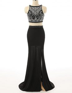 Low Price Scoop Sleeveless With Train Beading Zipper Prom Dresses with Black Brush Train