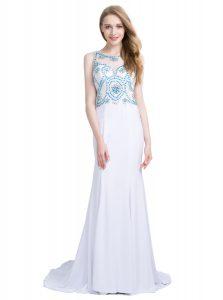 White Scoop Zipper Beading Dress for Prom Brush Train Sleeveless
