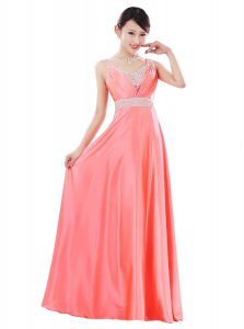 Affordable Watermelon Red Sleeveless Elastic Woven Satin Zipper Prom Dresses for Prom and Party