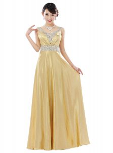 Eye-catching Gold Sleeveless Beading Floor Length Prom Party Dress