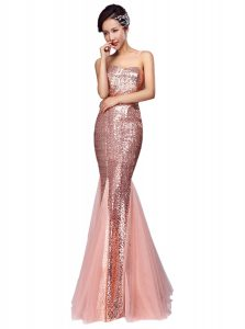 Dramatic Mermaid Sequined Sleeveless Floor Length Prom Dress and Sequins