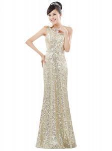 One Shoulder Sequins Champagne Sleeveless Sequined Zipper Prom Evening Gown for Prom and Party