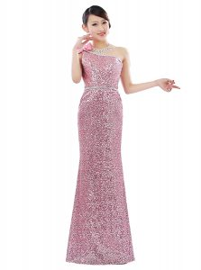 Vintage One Shoulder Pink Sleeveless Floor Length Sequins Zipper Evening Dress