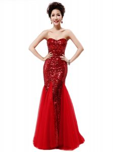 Hot Selling Mermaid Sequins Wine Red Dress for Prom Strapless Sleeveless Zipper