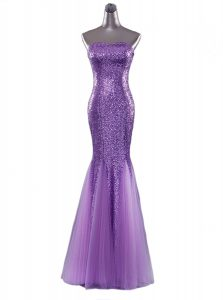 Colorful Mermaid Sequins Eggplant Purple Sleeveless Sequined Zipper Prom Dress for Prom and Party