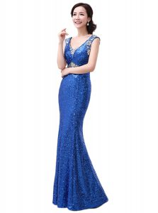 Royal Blue Column/Sheath Sequins Zipper Sequined Sleeveless Floor Length
