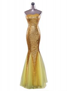 Great Mermaid Floor Length Gold Prom Dresses Sequined Sleeveless Sequins