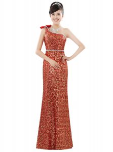 One Shoulder Floor Length Zipper Homecoming Dress Orange for Prom and Party with Beading and Sequins