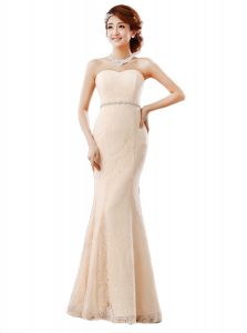 Floor Length Peach Mother Of The Bride Dress Lace Sleeveless Beading and Lace