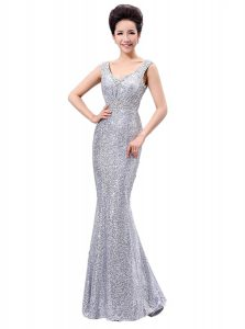 Fantastic Sequined V-neck Sleeveless Zipper Sequins Dress for Prom in Silver