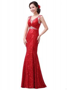 Sequins Mother Of The Bride Dress Red Zipper Sleeveless Floor Length