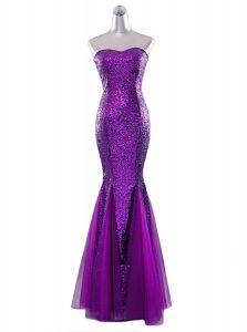 Modest Mermaid Strapless Sleeveless Sequined Prom Dress Sequins Zipper