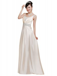 Fantastic White Sleeveless Beading Floor Length Homecoming Dress