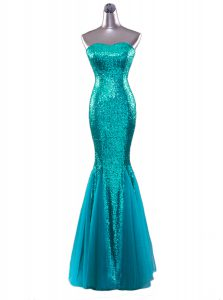 Cheap Mermaid Sequins Strapless Sleeveless Zipper Prom Evening Gown Turquoise Sequined