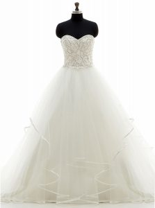 With Train White Wedding Gowns Organza Brush Train Sleeveless Beading and Ruffles