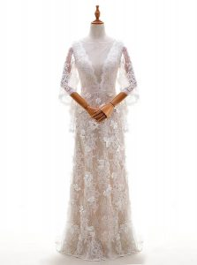 Peach Column/Sheath Appliques Bridal Gown Side Zipper Lace Half Sleeves With Train