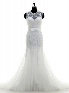 New Arrival Mermaid Scoop White Zipper Wedding Dress Beading Sleeveless With Brush Train