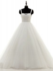 Unique White A-line Beading Bridal Gown Zipper Tulle and Lace Sleeveless Floor Length