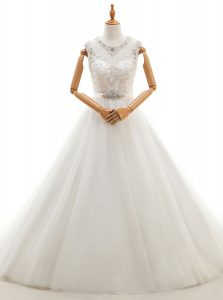 Colorful Scoop White Clasp Handle Wedding Dresses Beading and Lace Sleeveless With Brush Train