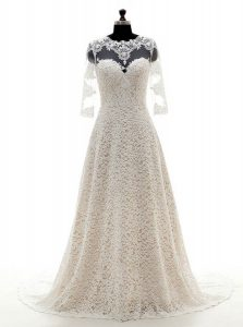 Exceptional Scoop Champagne Clasp Handle Wedding Dresses Lace 3 4 Length Sleeve With Train Court Train