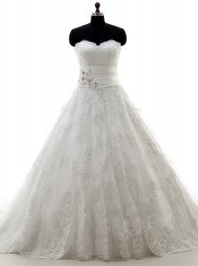 Brush Train A-line Wedding Gown White Sweetheart Lace Sleeveless Lace Up