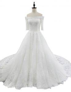Lace With Train White Wedding Dress Off The Shoulder Half Sleeves Chapel Train Zipper