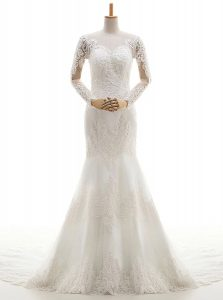 Dazzling Brush Train Mermaid Wedding Gown White V-neck Lace Long Sleeves With Train Clasp Handle