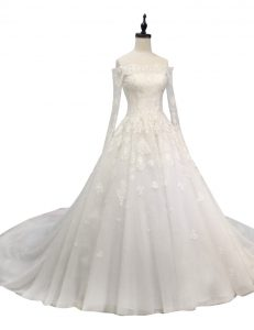Exceptional White A-line Tulle Off The Shoulder Long Sleeves Lace and Appliques With Train Zipper Wedding Dresses Chapel