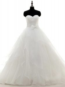 Sweet White Satin and Organza Zipper Wedding Gown Long Sleeves With Train Sweep Train Pick Ups