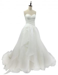 Clearance White Sleeveless Brush Train Ruching With Train Bridal Gown