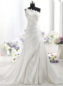 Sweet One Shoulder Sleeveless Chapel Train Zipper With Train Ruffles Wedding Dresses