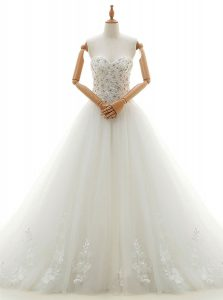 Designer White Tulle Lace Up Wedding Gown Sleeveless With Train Chapel Train Beading and Appliques