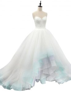 Ideal Sleeveless Organza High Low Lace Up Wedding Gown in Multi-color with Beading and Appliques