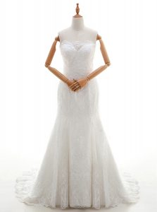 Brush Train Mermaid Wedding Gowns White Scalloped Lace Sleeveless With Train Lace Up