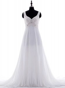Customized Sleeveless Brush Train Zipper With Train Beading and Pleated Wedding Dresses