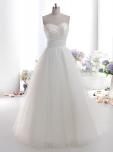 Superior A-line Wedding Dress White Sweetheart Tulle Sleeveless Floor Length Lace Up
