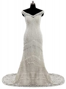 Cute White Column/Sheath Lace V-neck Cap Sleeves Lace and Sashes ribbons With Train Zipper Wedding Dress Brush Train