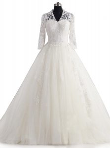 Great White A-line V-neck 3 4 Length Sleeve Tulle With Brush Train Zipper Appliques Wedding Gown