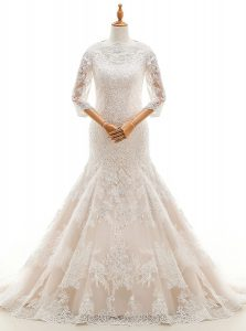Stylish Mermaid High-neck 3 4 Length Sleeve Wedding Dress With Train Court Train Lace and Ruffled Layers White Lace