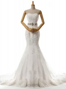 Popular Mermaid With Train White Wedding Gown Lace Brush Train Sleeveless Beading and Lace and Appliques