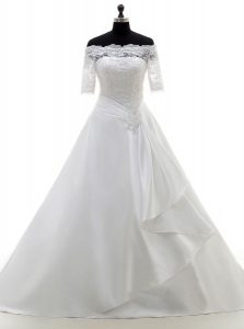 Super Off the Shoulder Clasp Handle Satin Half Sleeves With Train Wedding Dress Brush Train and Lace