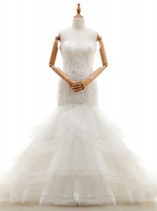 New Arrival White Mermaid Sweetheart Sleeveless Organza With Brush Train Clasp Handle Beading and Lace and Ruffled Layer