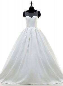 Satin Sleeveless With Train Wedding Gown Sweep Train and Lace and Appliques