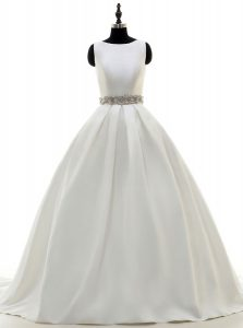 With Train White Wedding Gowns Scoop Sleeveless Sweep Train Zipper