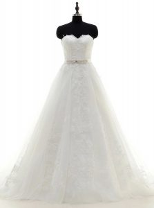 High End Sweetheart Sleeveless Wedding Gowns With Brush Train Sashes ribbons White Satin and Lace