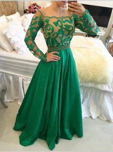 High End Green A-line Taffeta Scoop Long Sleeves Beading and Appliques Floor Length Side Zipper Prom Gown