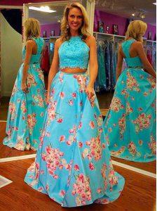 Fashion Halter Top Floor Length A-line Sleeveless Blue Zipper