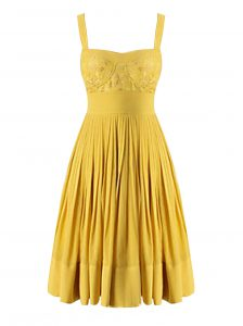 Eye-catching Yellow Criss Cross Sweetheart Beading and Pleated Pageant Dress for Girls Chiffon Sleeveless
