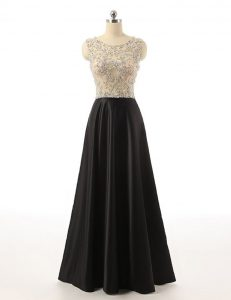 Scoop Sleeveless Floor Length Beading Black Satin